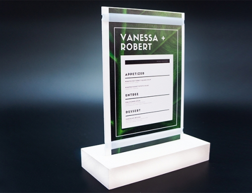 Acrylic board + PVC Base for Menu Event