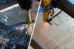 a cnc router cutting metal and a cnc laser cutting wood