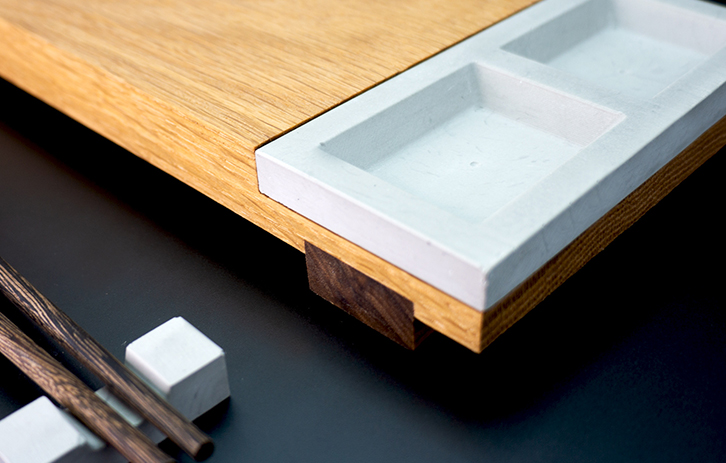 Custom Sushi Boards in Solid Wood and Concrete Sauce Tray